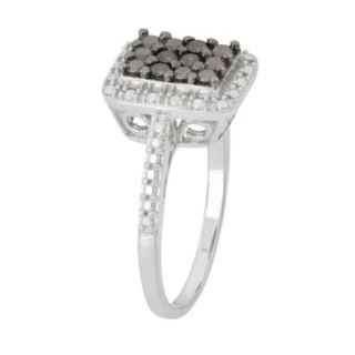 Sterling Silver 1/6 Carat T.W. Black Diamond Halo Ring