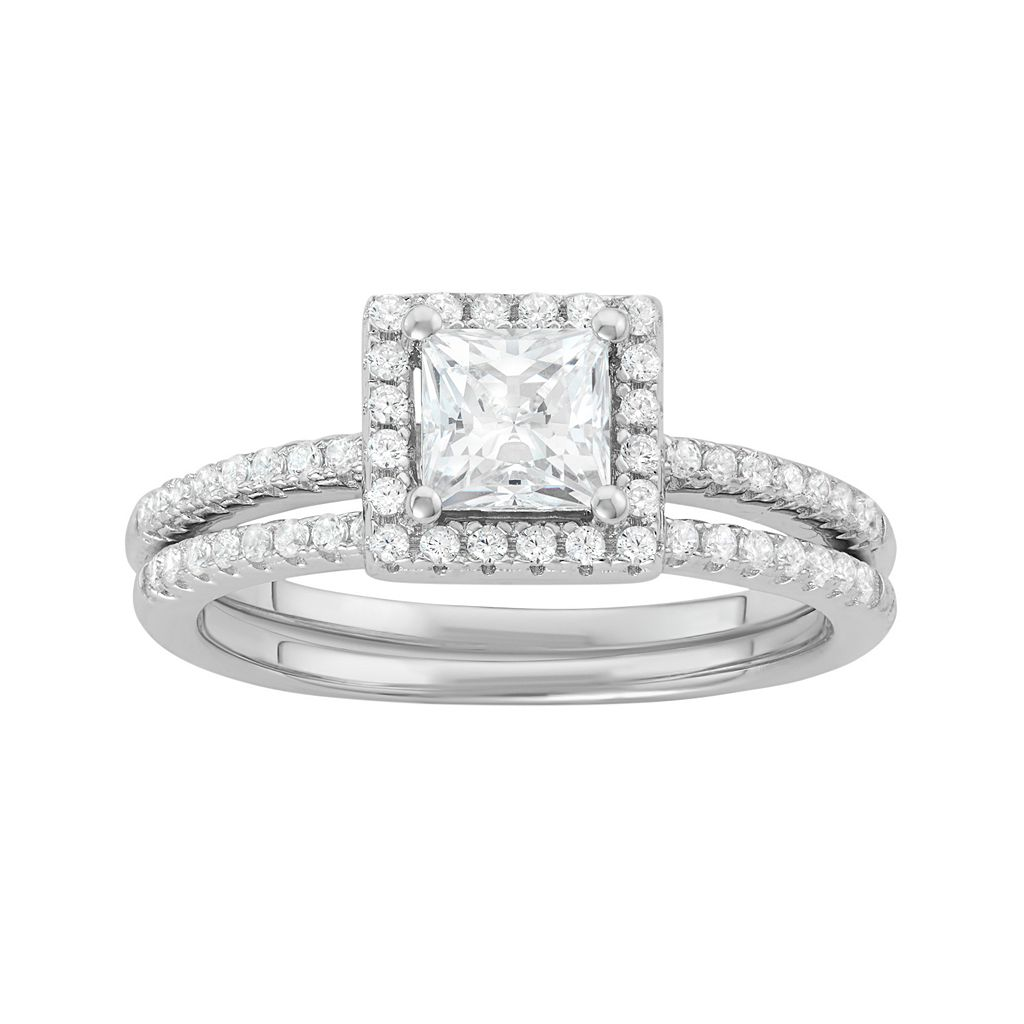 Sterling Silver Cubic Zirconia Square Halo Engagement Ring Set