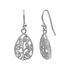 PRIMROSE Sterling Silver Cubic Zirconia Tree Teardrop Earrings