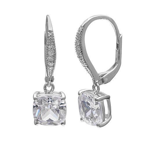 PRIMROSE Sterling Silver Cubic Zirconia Cushion Drop Earrings