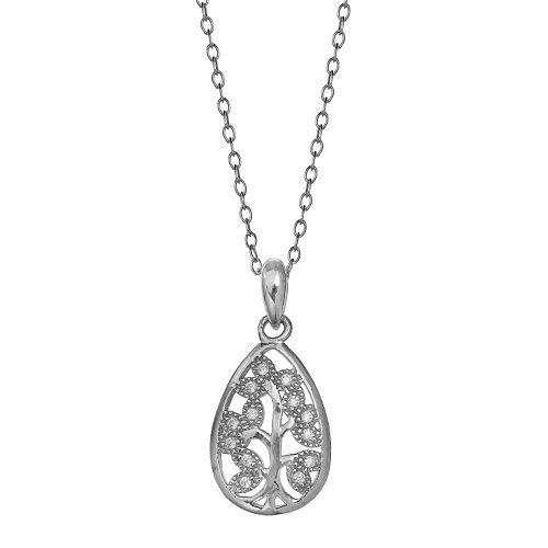 PRIMROSE Sterling Silver Cubic Zirconia Tree Pendant Necklace