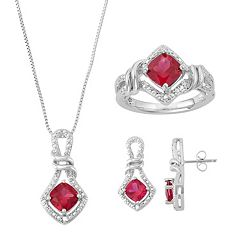 Lab-Created Ruby & Diamond Accent Jewelry Set