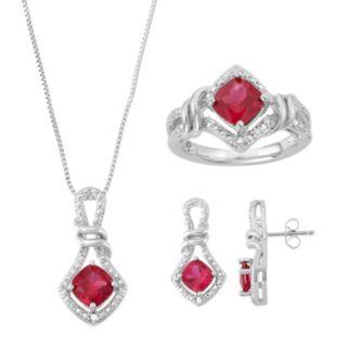 Lab-Created Ruby & Diamond Accent Jewelry Set