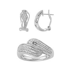 1/10 Carat T.W. Diamond Twist U-Hoop Earrings & Ring Set