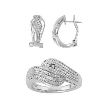 1/10 Carat T.W. Diamond Twist U-Hoop Earrings & Ring Set