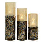 New Traditional Jewel-Tone Mosaic Candle Holder 3 pc Set