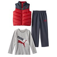 Toddler Boy PUMA Quilted Vest, Long Sleeve Tee & Pants Set