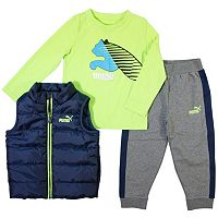 Boys 4-7 PUMA Quilted Vest, Tee & Logo Jogger Pants Set