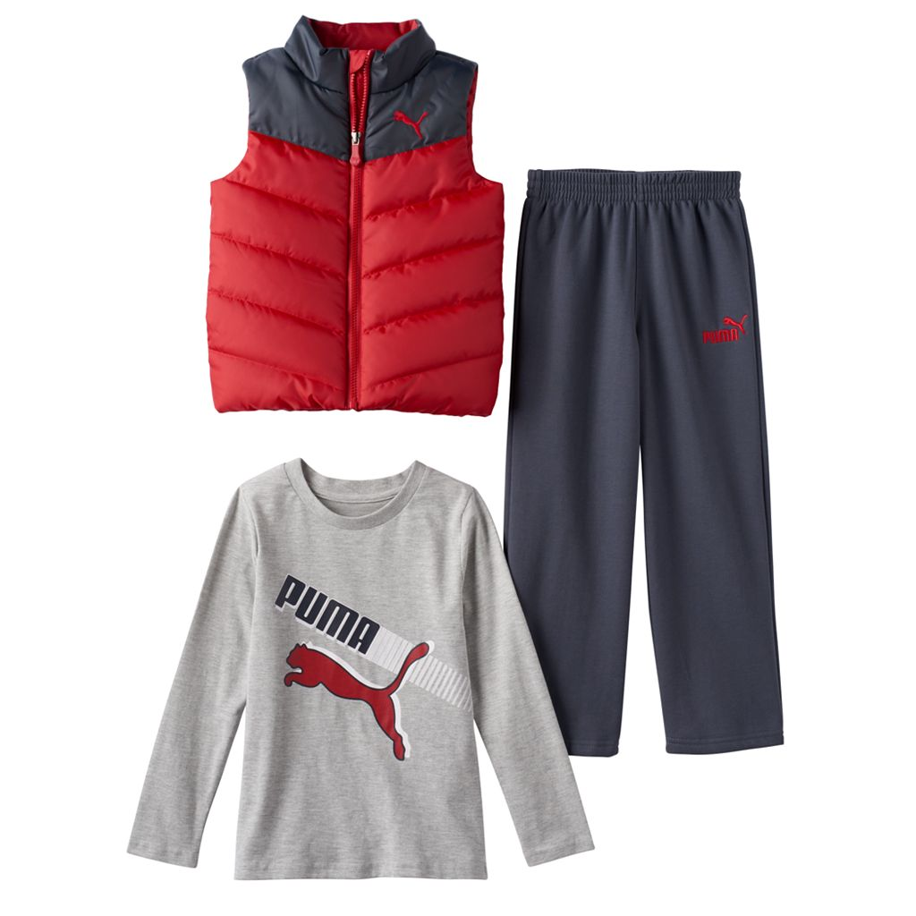 Boys 4-7 PUMA Quilted Vest, Long Sleeve Tee & Pants Set