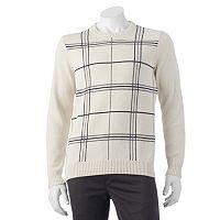 Big & Tall Croft & Barrow® Classic-Fit Windowpane 7GG Crewneck Sweater