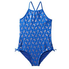 Girls Plus Size SO® Foil Pineapple Printed One-Piece Swimsuit