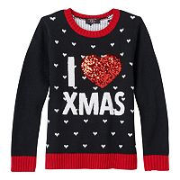 Girls 7-16 & Plus Size It's Our Time Applique Graphic Ugly Christmas Sweater