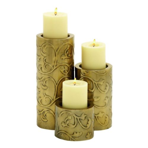 Updated Traditional Gold-Tone Iron Candle Holder 3-piece Set
