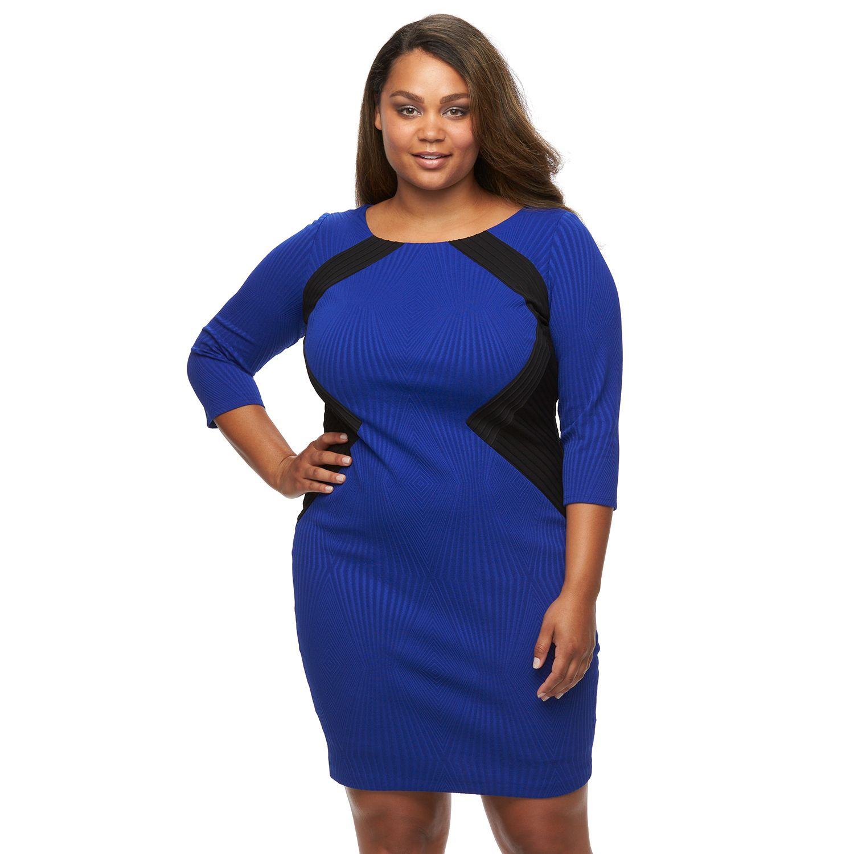 Plus Size Chaya Colorblock Pintuck Sheath Dress