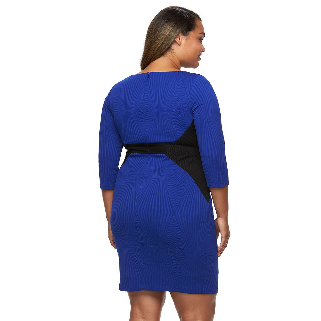 Plus Size Chaya Colorblock Pintuck Sheath Dress