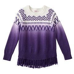 Girls 4-6x Design 365 Ombre Aztec Fringe Sweater