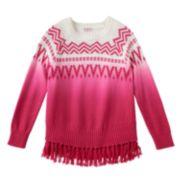 Girls 4-6x Design 365 Ombre Aztec Fringe Sweater