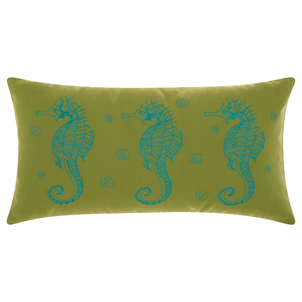 Mina Victory Three Seahorses Indoor / Outdoor Oblong Throw Pillow