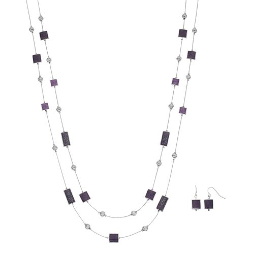 Double Strand Rectangle & Square Necklace & Drop Earring Set