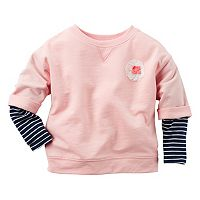 Girls 4-8 Carter's Striped Mock-Layered Long Sleeve French Terry Rosette Top