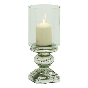 Mercury Glass Finish Ball Pedestal Hurricane Candle Holder