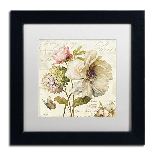 Trademark Fine Art Marche de Fleurs II White Matted Framed Wall Art