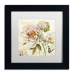 Trademark Fine Art Marche de Fleurs III White Matted Framed Wall Art
