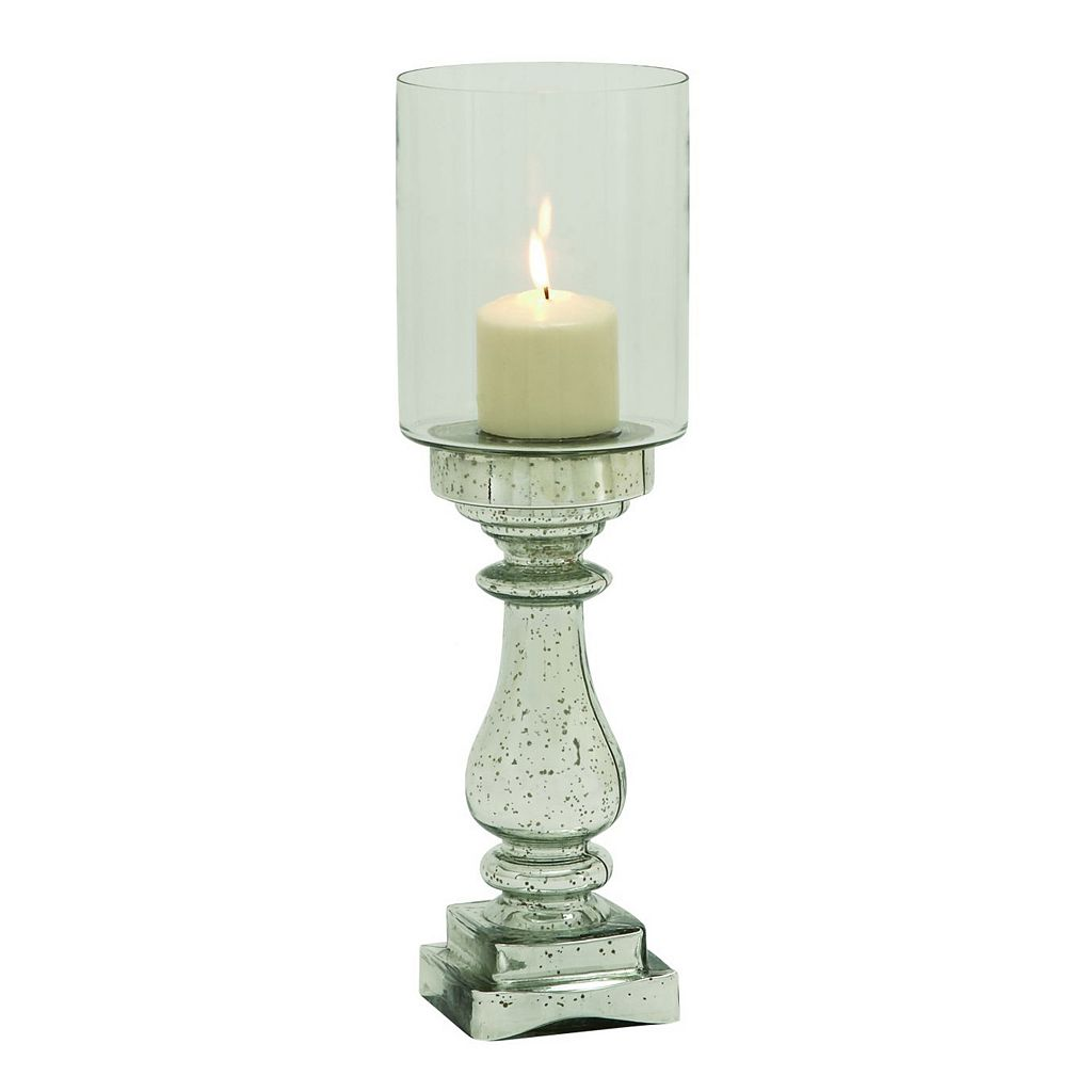 Mercury Glass Finish Pedestal Hurricane 20'' Candle Holder
