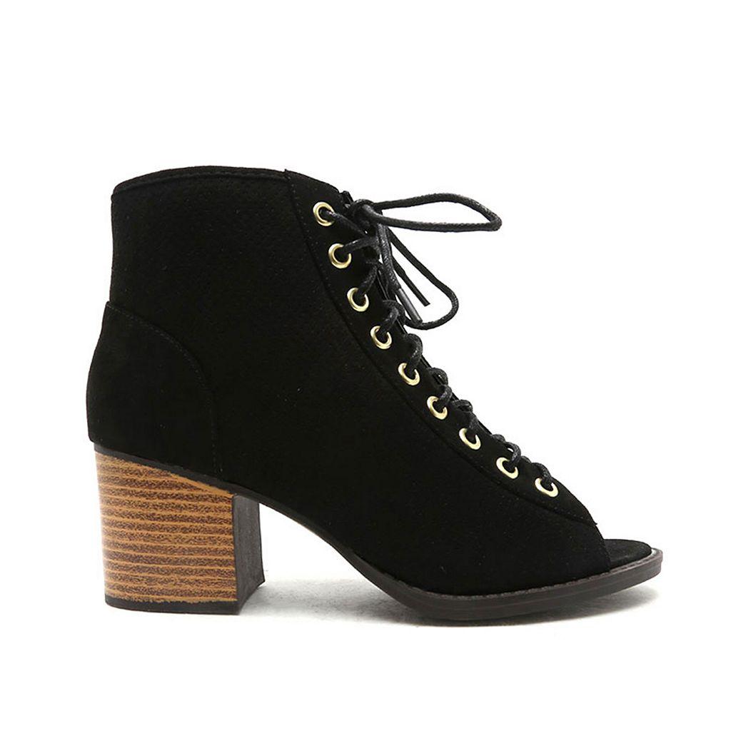 Qupid Dixie Women's Peep-Toe Ankle Boots