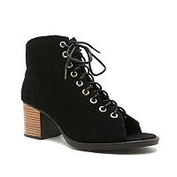 Qupid Dixie Women's Peep-Toe Ankle Boots