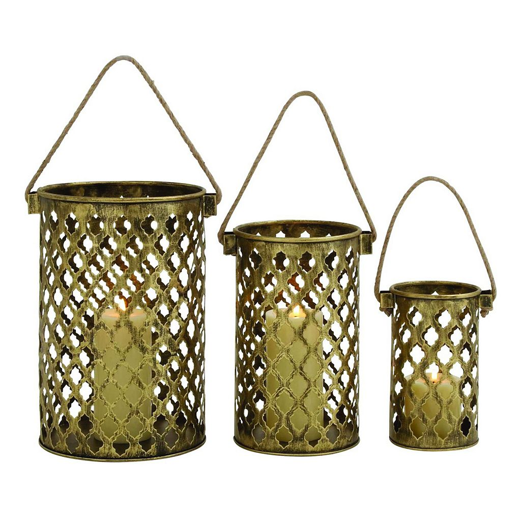 Pierced Brass Finish Candle Holder 3-piece Set