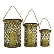 Pierced Brass Finish Candle Holder 3 pc Set