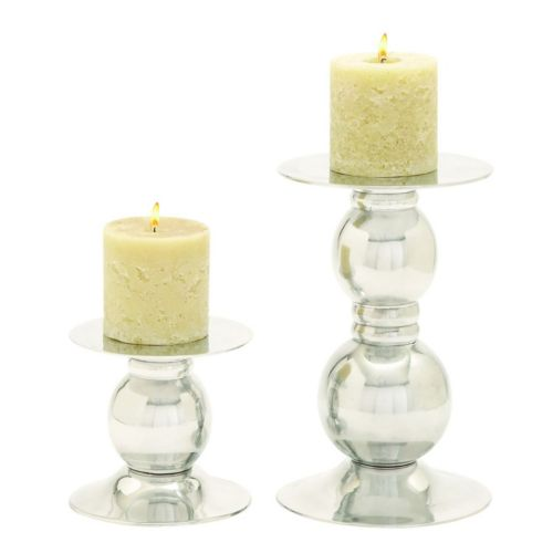 Contemporary Polished Aluminum Candle Holder 2-piece Set