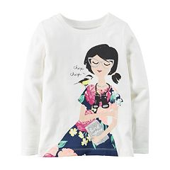 Girls 4-8 Carter's Long Sleeve Glitter Graphic Tee