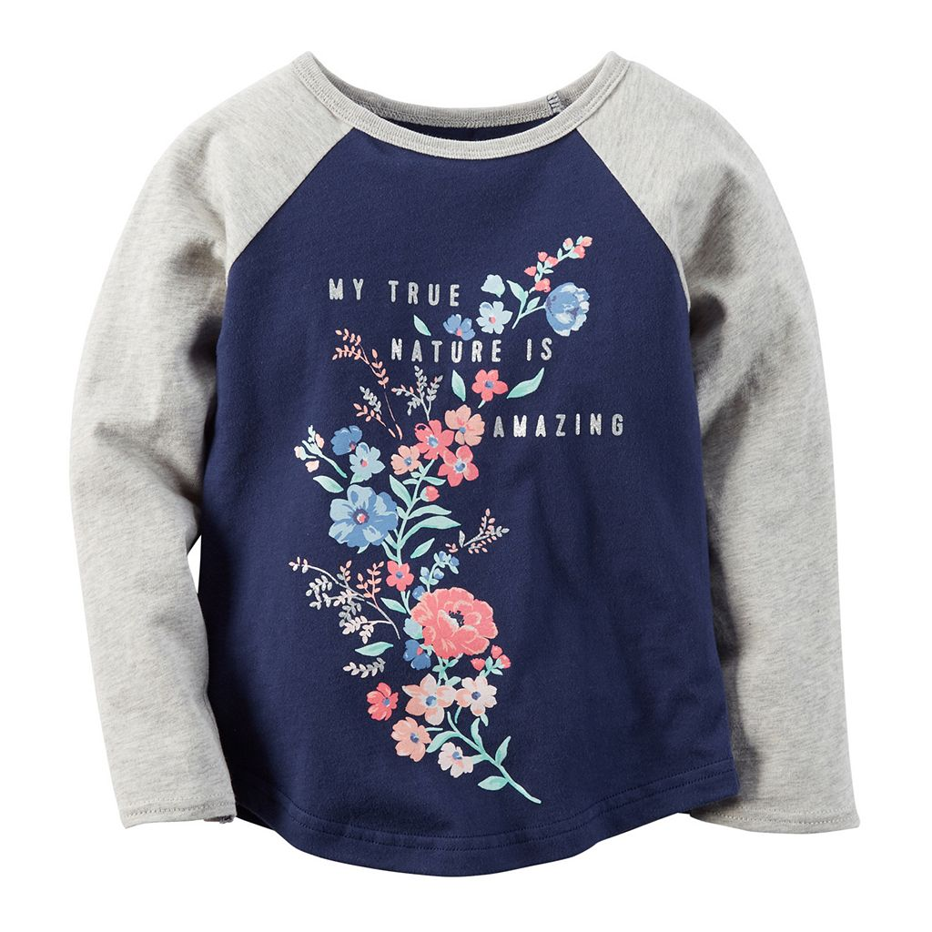 Girls 4-8 Carter's Colorblocked Raglan Long Sleeve Glitter Graphic Tee