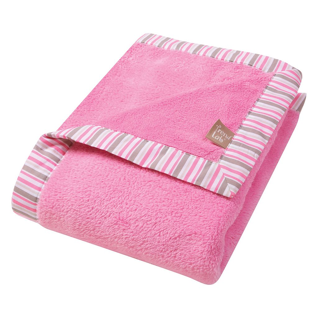 Trend Lab Lily Striped Pink Fleece Baby Blanket
