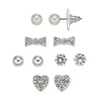 Cubic Zirconia Heart & Bow Tie Nickel Free Stud Earring Set