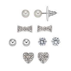 Cubic Zirconia Heart & Bow Tie Nickel Free Stud Earring Set