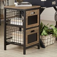 HomeVance Cooper Mixed Media 2-Drawer Storage Tower