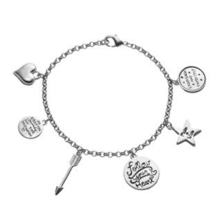 "love this life ""Make a Wish"" Compass & Arrow Charm Bracelet"