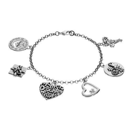"love this life Silver Plated ""Mother Daughter"" Heart & Flower Charm Bracelet"