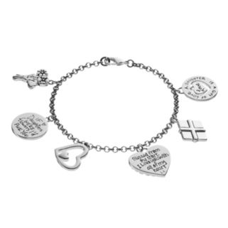 """love this life Silver Plated """"Mother Daughter"""" Heart & Flower Charm Bracelet"""