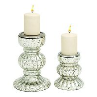 Pitted Glass Candle Holder 2-piece Set