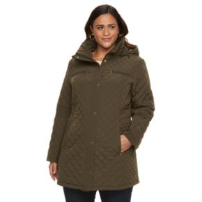Plus Size Gallery Hooded Quilted Zip-Front Jacket
