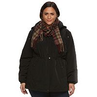 Plus Size Gallery Hooded Anorak Jacket & Scarf Set