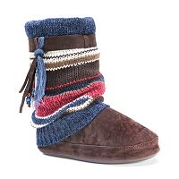 MUK LUKS Women's Riley Striped Boot Slippers