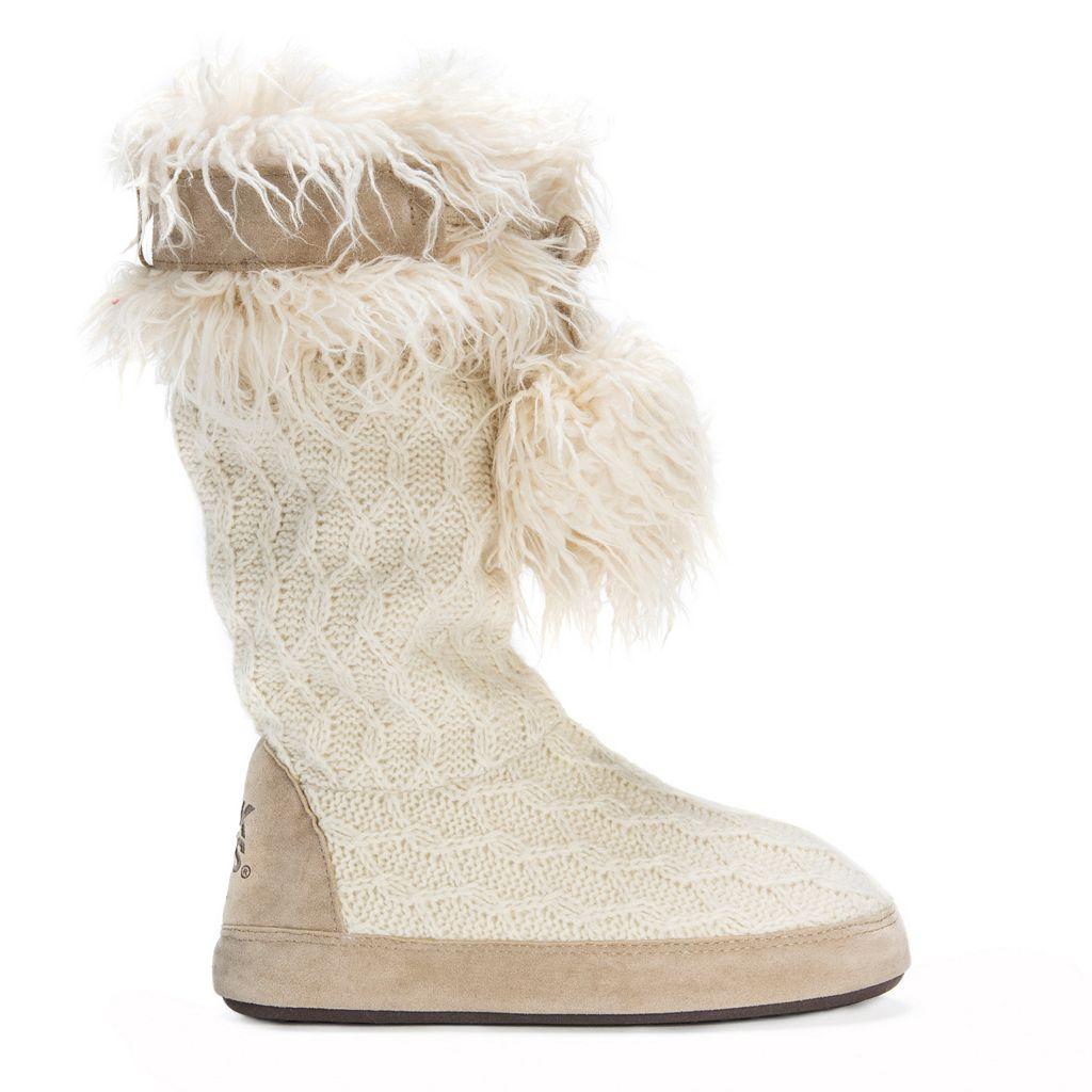 MUK LUKS Women's Chanelle Fringe Boot Slippers