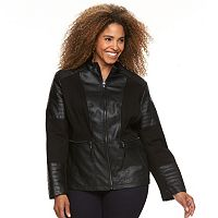 Plus Size Giacca Mixed-Media Faux-Leather Jacket