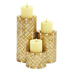 Updated Traditional Mosaic Candle Holder 3-piece Set