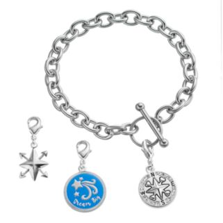 """love this life""""Life is a Journey"""" Bracelet & Crystal Charms Set"""